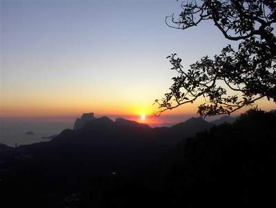 Sundown over Rio from Corcovado Mountain